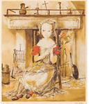 藤田嗣治「暖炉の前の少女」