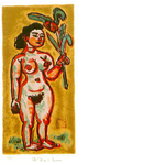 梅原龍三郎「花を持つ裸婦」